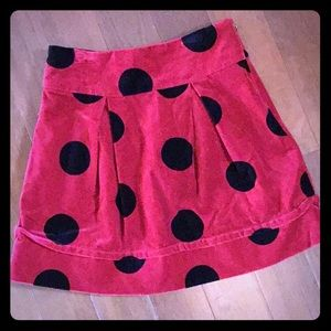 Red Velvet Skirt w/ Black Polka Dots